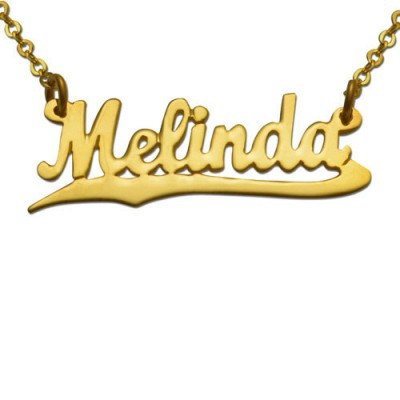 Underlined Script Name Necklace in 14K Gold Plating