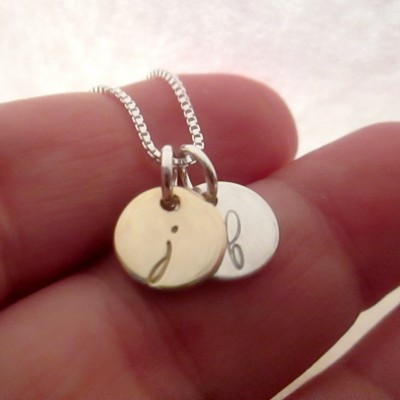 Valentine's Day Gift for Her - Mini Initials Necklace - 14 kt Gold and Sterling Silver Necklace - Personalized - Tiny Gold Disk Necklace