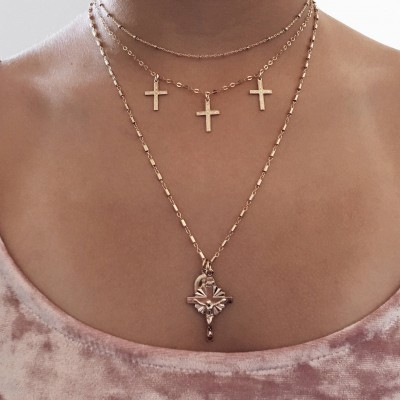 Virgin Mary necklace, cross necklace, 14k GF necklace, Religious necklace,  Gold jewelry