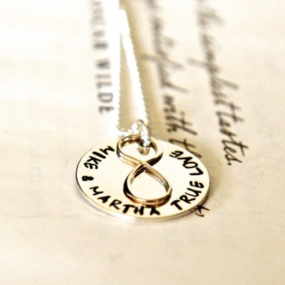 Wedding Gift For Wife, Infinity Necklace, Hand Stamped Names, Hand Stamped Jewelry, Personalized For Wife, Anniversary Gift For Her
