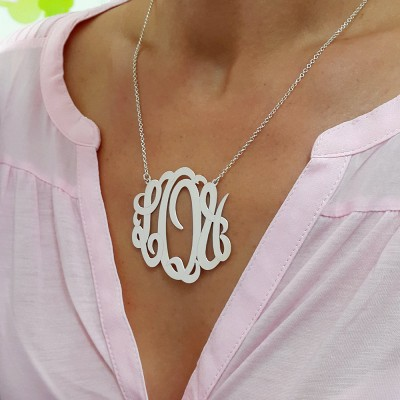 XXL Statement Necklace - Monogram Initials Necklace - 2 inch - 925 Sterling Silver - Any initials you wish