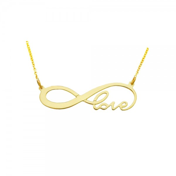 """inf01yS - Yellow Gold Plated Sterling Silver 1.5"""" Infinity Love Necklace"""