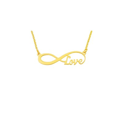 """inf03yL - Yellow Gold Plated Sterling Silver 1.75"""" Elegant Infinity Love Necklace"""