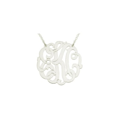 "mono136w - Rhodium Plated 1.75"" Sterling Silver XL Curly Monogram necklace"