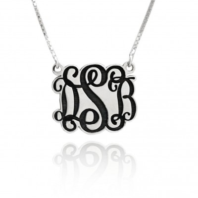 monogram necklace pendant silver, initial necklaces for women, 3 initial monogram necklace, Delicate Monogram, gift for her