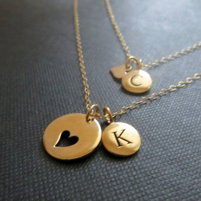 mother daughter initial necklace, Personalized mother daughter heart jewelry, gift for mom, baby shower, monogram, birth announcement