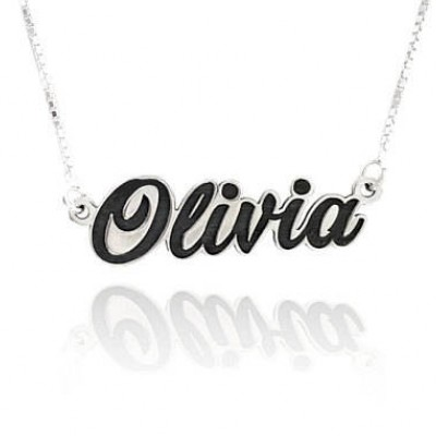 silver name plate necklace, silver name necklaces for girls, personalized name plate necklace, black name necklace, gift for her