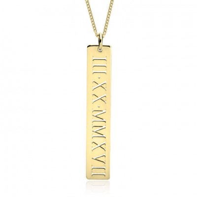 Personalized Vertical Roman Numeral Necklace Date