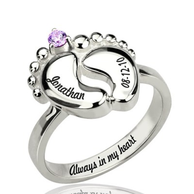 Engraved Baby Feet Ring with Birthstone Sterling Silver  - Name My Jewelry ™
