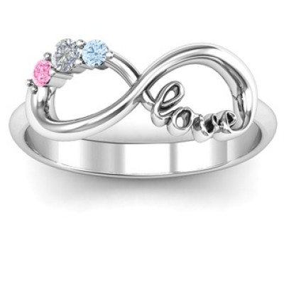Customised Infinity Promise Ring With Birthstone Infinity Love Ring  - Name My Jewelry ™