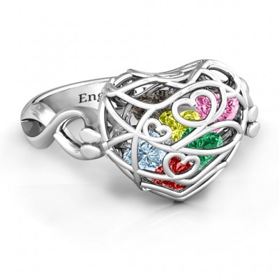 Encased in Love Caged Hearts Ring with Infinity Band - Name My Jewelry ™