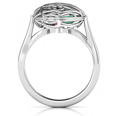Encased in Love Caged Hearts Ring with Ski Tip Band - Name My Jewelry ™