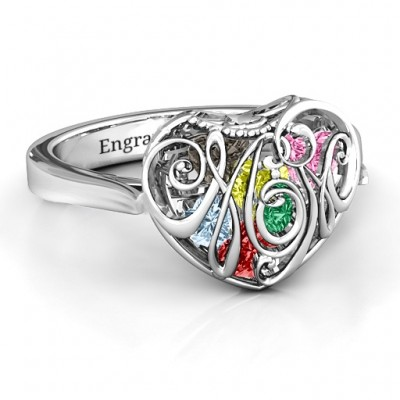 Cursive Mom Caged Hearts Ring with Ski Tip Band - Name My Jewelry ™