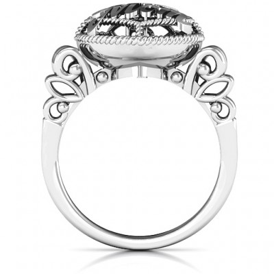 #1 Mom Caged Hearts Ring with Butterfly Wings Band - Name My Jewelry ™