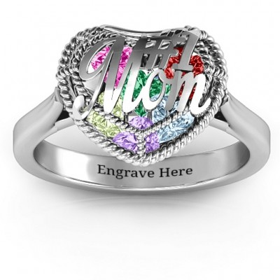 #1 Mom Caged Hearts Ring with Ski Tip Band - Name My Jewelry ™