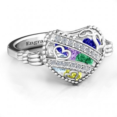 Sparkling Diamond Hearts Caged Hearts Ring with Butterfly Wings Band - Name My Jewelry ™