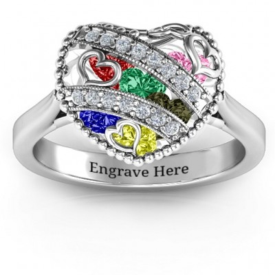 Sparkling Hearts Caged Hearts Ring with Ski Tip Band - Name My Jewelry ™