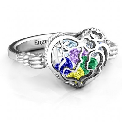 Mother and Child Caged Hearts Ring with Butterfly Wings Band - Name My Jewelry ™