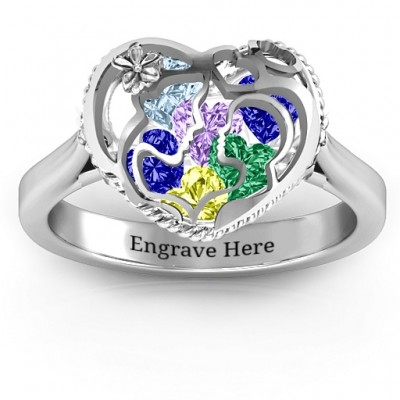 Mother and Child Caged Hearts Ring with Ski Tip Band - Name My Jewelry ™