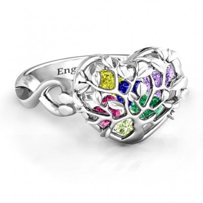 Family Tree Caged Hearts Ring with Infinity Band - Name My Jewelry ™