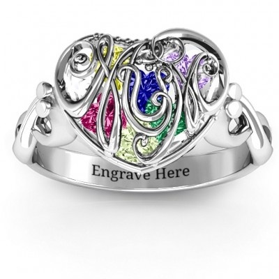 Cursive Mom Caged Hearts Ring with Infinity Band - Name My Jewelry ™
