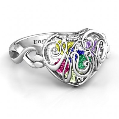 Mum heart Caged Hearts Ring with Infinity Band - Name My Jewelry ™