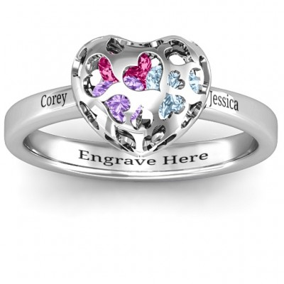 Heart Cut-out Petite Caged Hearts Ring with Classic with Engravings Band - Name My Jewelry ™