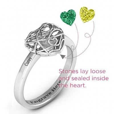 Encased in Love Petite Caged Hearts Ring with Classic Band - Name My Jewelry ™