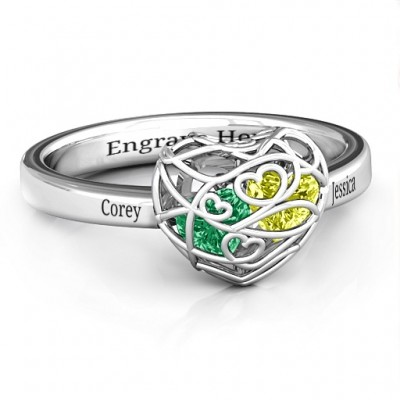 Encased in Love Petite Caged Hearts Ring with Classic with Engravings Band - Name My Jewelry ™