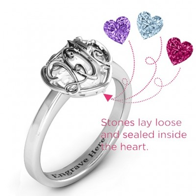 2015 Petite Caged Hearts Ring with Classic Band - Name My Jewelry ™