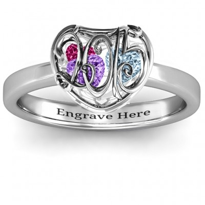 2015 Petite Caged Hearts Ring with Classic with Engravings Band - Name My Jewelry ™