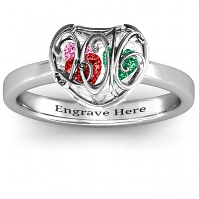 2016 Petite Caged Hearts Ring with Classic with Engravings Band - Name My Jewelry ™