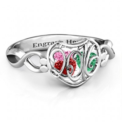2016 Petite Caged Hearts Ring with Infinity Band - Name My Jewelry ™