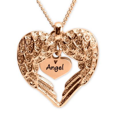 personalized Angels Heart Necklace with Heart Insert - 18ct Rose Gold - Name My Jewelry ™