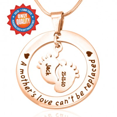 personalized Cant Be Replaced Necklace - Single Feet 18mm - 18ct Rose Gold - Name My Jewelry ™