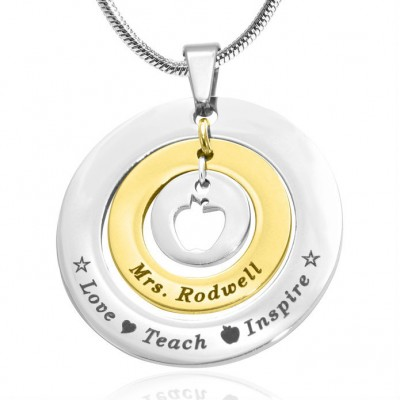 personalized Circles of Love Necklace Teacher - TWO TONE - Gold  Silver - Name My Jewelry ™