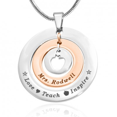 personalized Circles of Love Necklace Teacher - TWO TONE - Rose Gold  Silver - Name My Jewelry ™