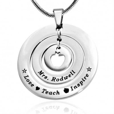 personalized Circles of Love Necklace Teacher - Sterling Silver - Name My Jewelry ™