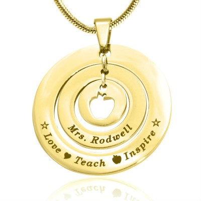 personalized Circles of Love Necklace Teacher - 18ct GOLD Plated - Name My Jewelry ™