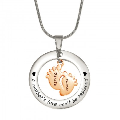 personalized Cant Be Replaced Necklace - Single Feet 18mm - Two Tone - 18ct Rose Gold Plated - Name My Jewelry ™