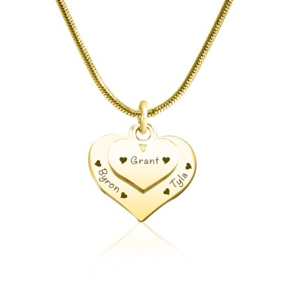 personalized Double Heart Necklace - 18ct Gold Plated - Name My Jewelry ™