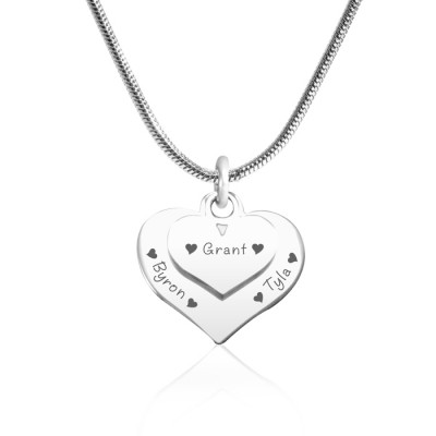 personalized Double Heart Necklace - Sterling Silver - Name My Jewelry ™
