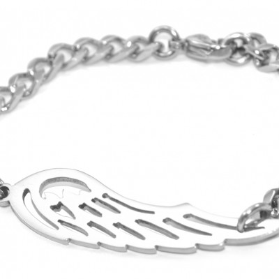 personalized Angels Wing Bracelet - Silver - Name My Jewelry ™