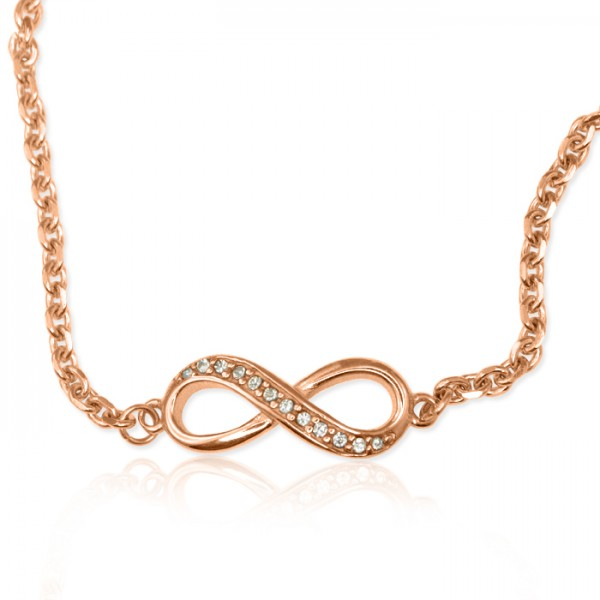 personalized  Crystal Infinity Bracelet/Anklet - 18ct Rose Gold Plated - Name My Jewelry ™