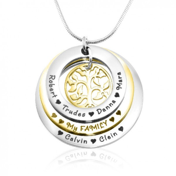 personalized Family Triple Love - Two Tone - Gold n Silver - Name My Jewelry ™
