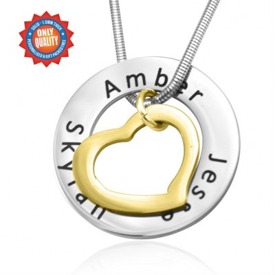 personalized Heart Washer Necklace - TWO TONE - Gold  Silver - Name My Jewelry ™