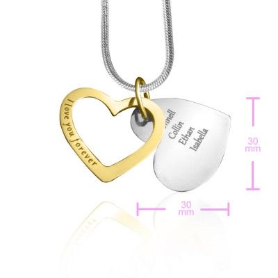 personalized Love Forever Necklace - Two Tone - Gold  Silver - Name My Jewelry ™