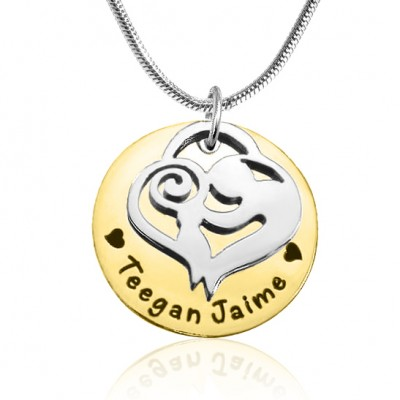 personalized Mother's Disc Single Necklace - Two Tone - Gold  Silver - Name My Jewelry ™