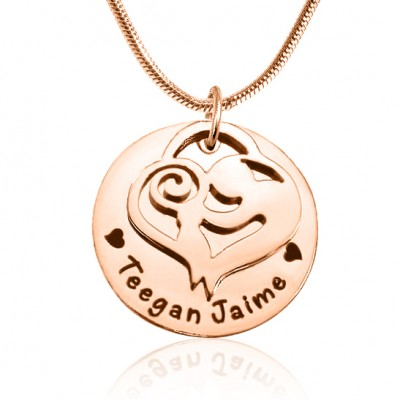 personalized Mother's Disc Single Necklace - 18ct Rose Gold Plated - Name My Jewelry ™
