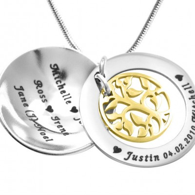 personalized My Family Tree Dome Necklace - Two Tone - Gold Tree - Name My Jewelry ™